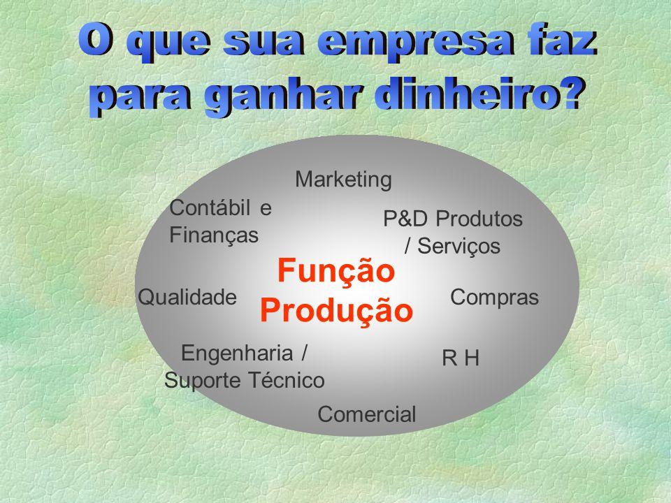O que sua empresa faz para ganhar dinheiro Função Produção Marketing