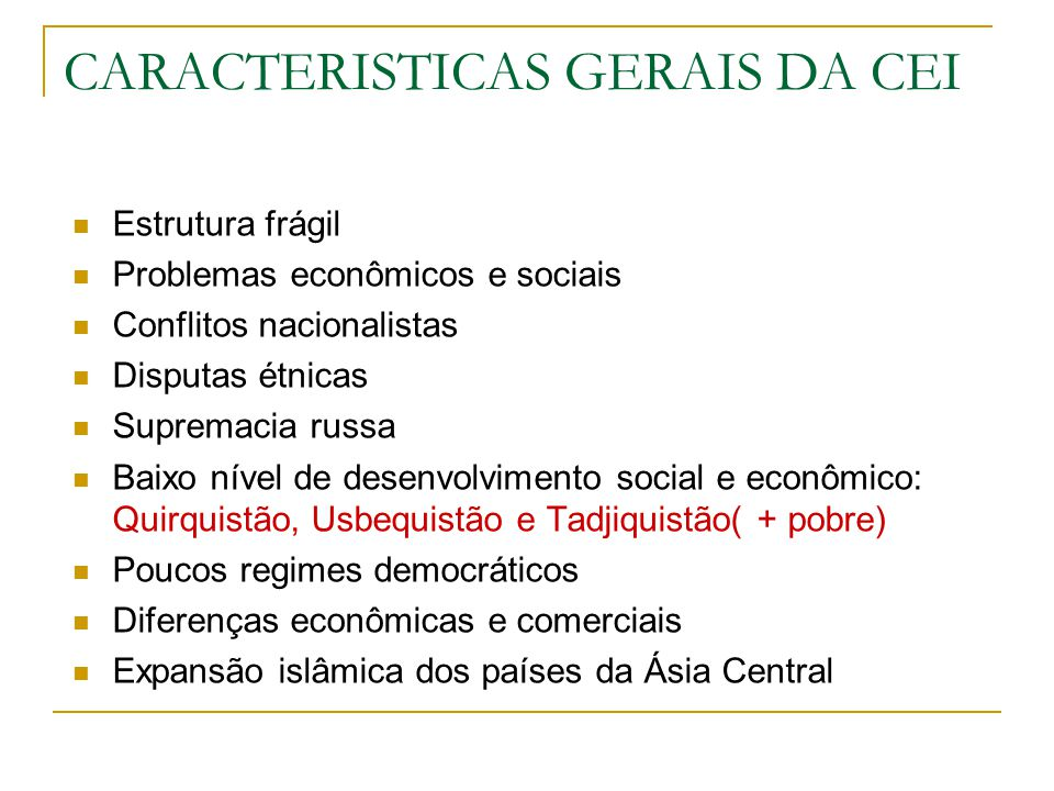 CARACTERISTICAS GERAIS DA CEI