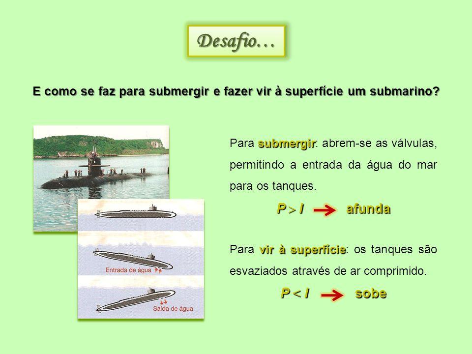 E como se faz para submergir e fazer vir à superfície um submarino