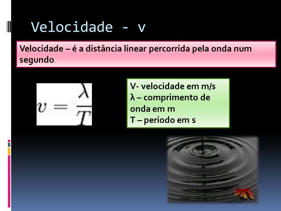 Velocidade - v Velocidade – é a distância linear percorrida pela onda num segundo. V- velocidade em m/s.