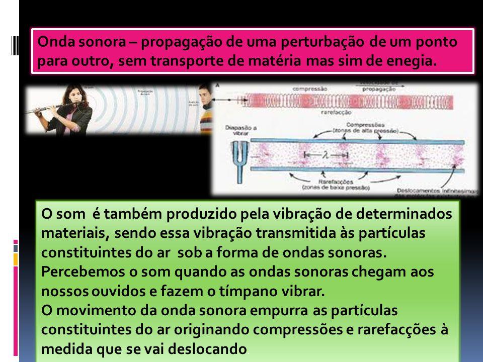 Onda sonora – propagação de uma perturbação de um ponto para outro, sem transporte de matéria mas sim de enegia.