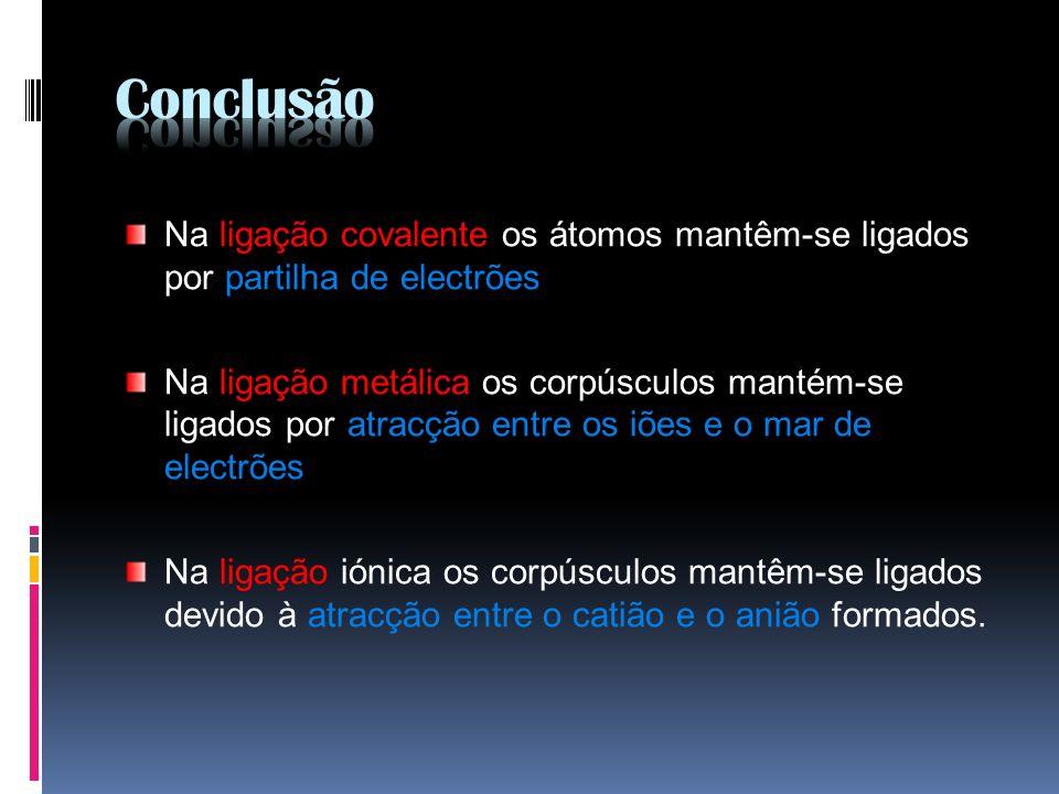 ConclusãoNa ligação covalente os átomos mantêm-se ligados por partilha de electrões.