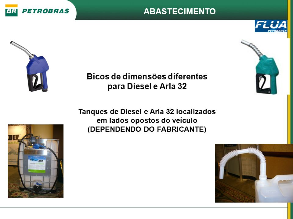 Bicos de dimensões diferentes para Diesel e Arla 32