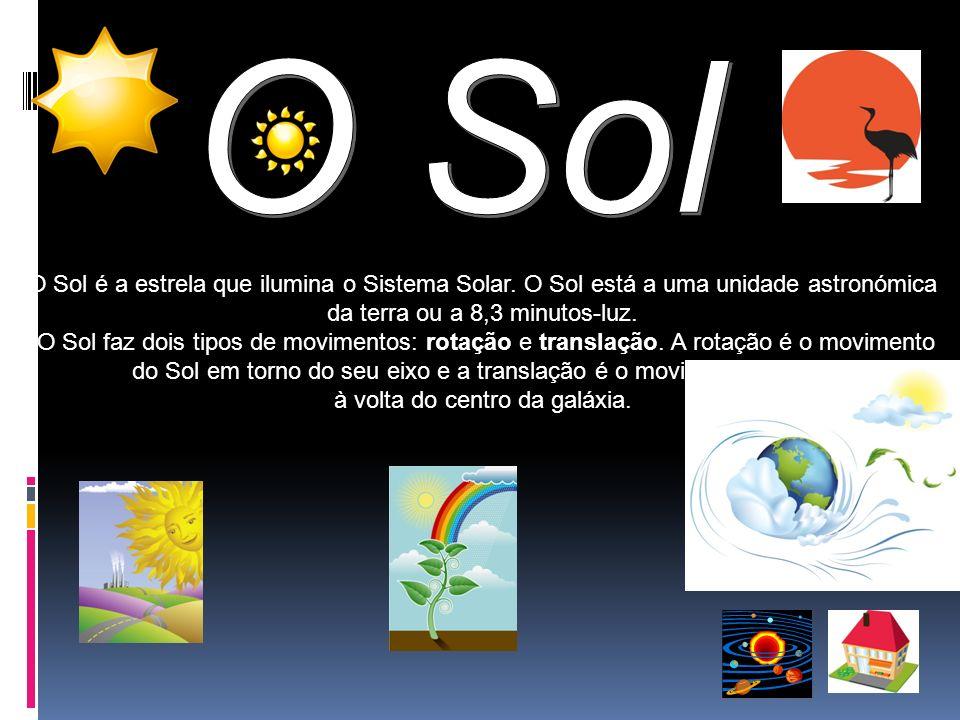O Sol O Sol é a estrela que ilumina o Sistema Solar. O Sol está a uma unidade astronómica. da terra ou a 8,3 minutos-luz.