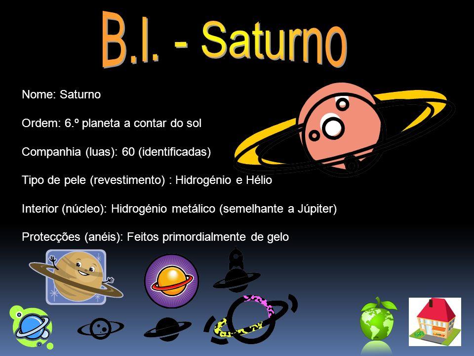 B.I. - Saturno Nome: Saturno Ordem: 6.º planeta a contar do sol