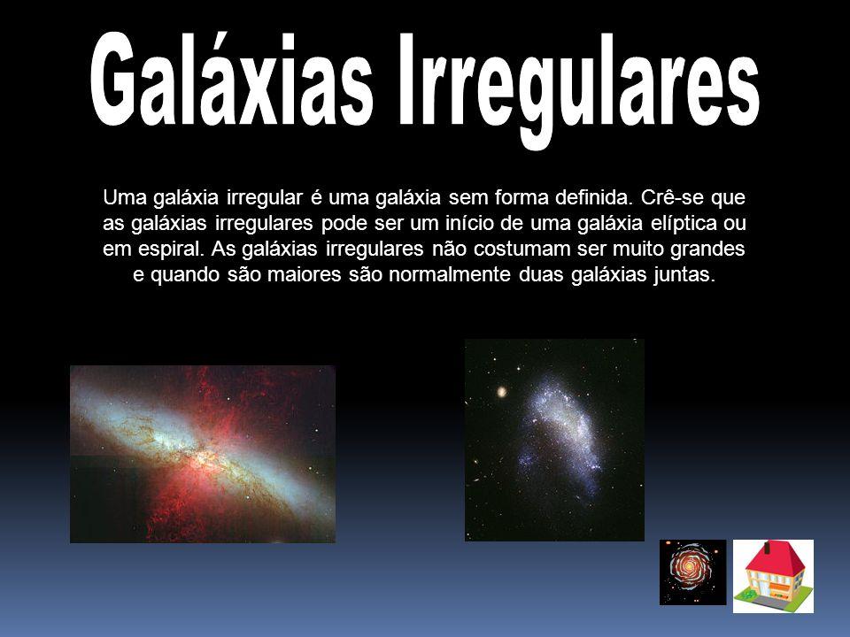 Galáxias Irregulares Uma galáxia irregular é uma galáxia sem forma definida. Crê-se que.