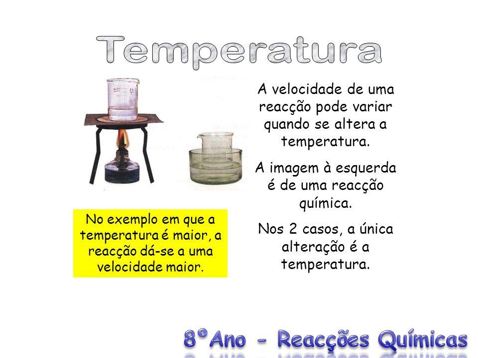 Temperatura A velocidade de uma reacção pode variar quando se altera a temperatura. A imagem à esquerda é de uma reacção química.