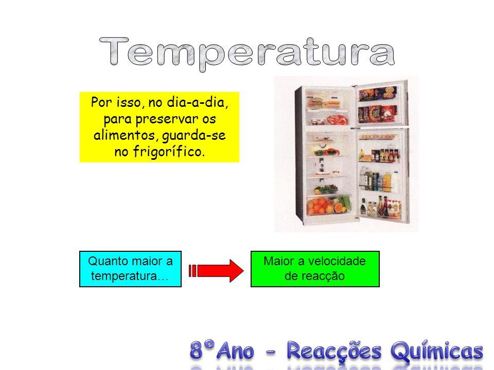 Temperatura Por isso, no dia-a-dia, para preservar os alimentos, guarda-se no frigorífico. Quanto maior a temperatura…