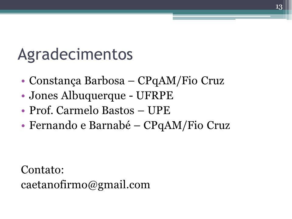Agradecimentos Constança Barbosa – CPqAM/Fio Cruz