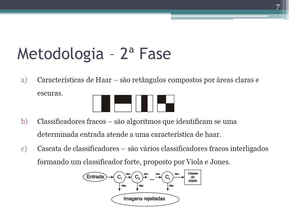 Metodologia – 2ª Fase Características de Haar – são retângulos compostos por áreas claras e escuras.