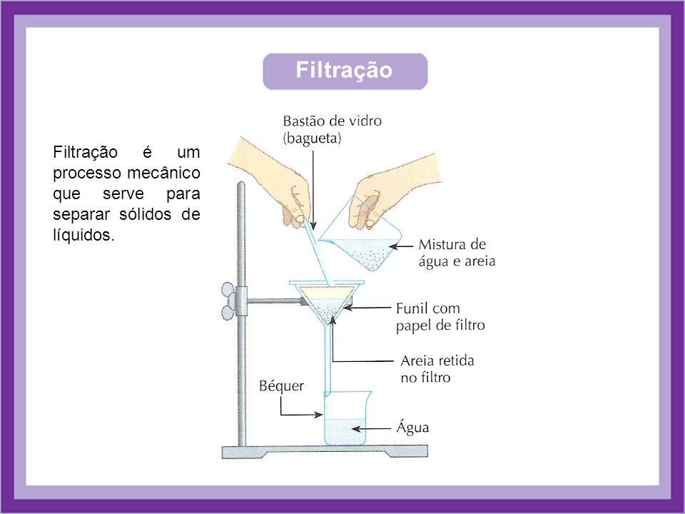 Filtração Filtração é um processo mecânico que serve para separar sólidos de líquidos.