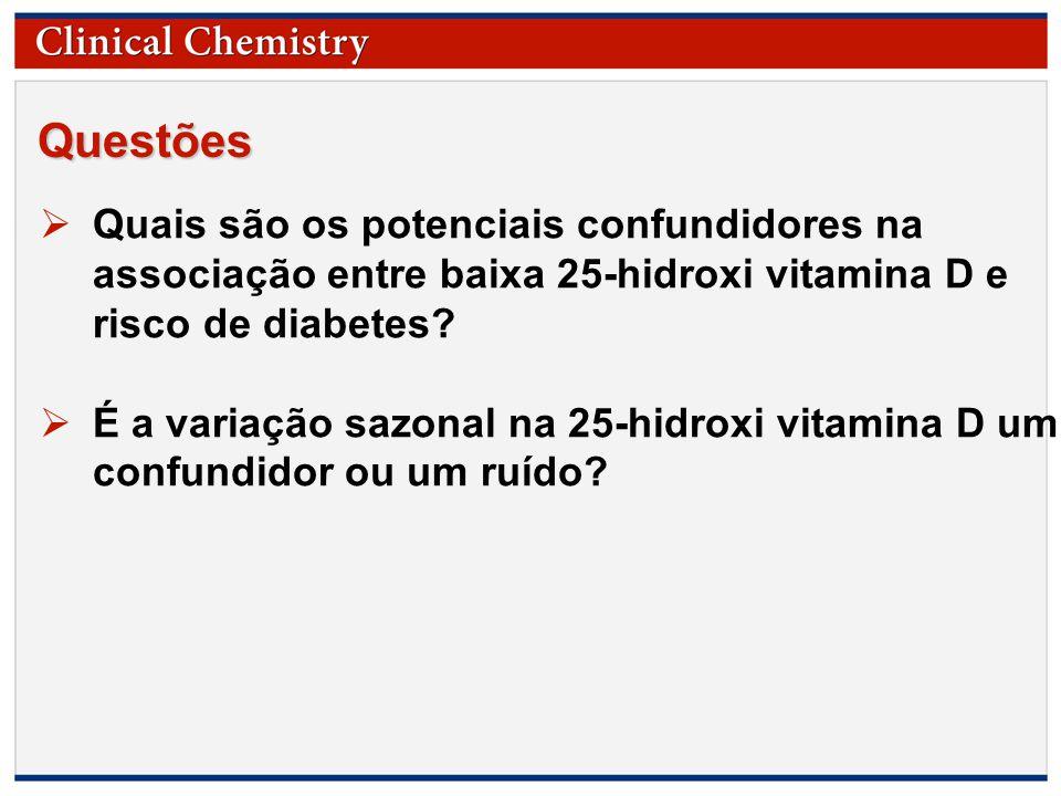 Questões Quais são os potenciais confundidores na associação entre baixa 25-hidroxi vitamina D e risco de diabetes