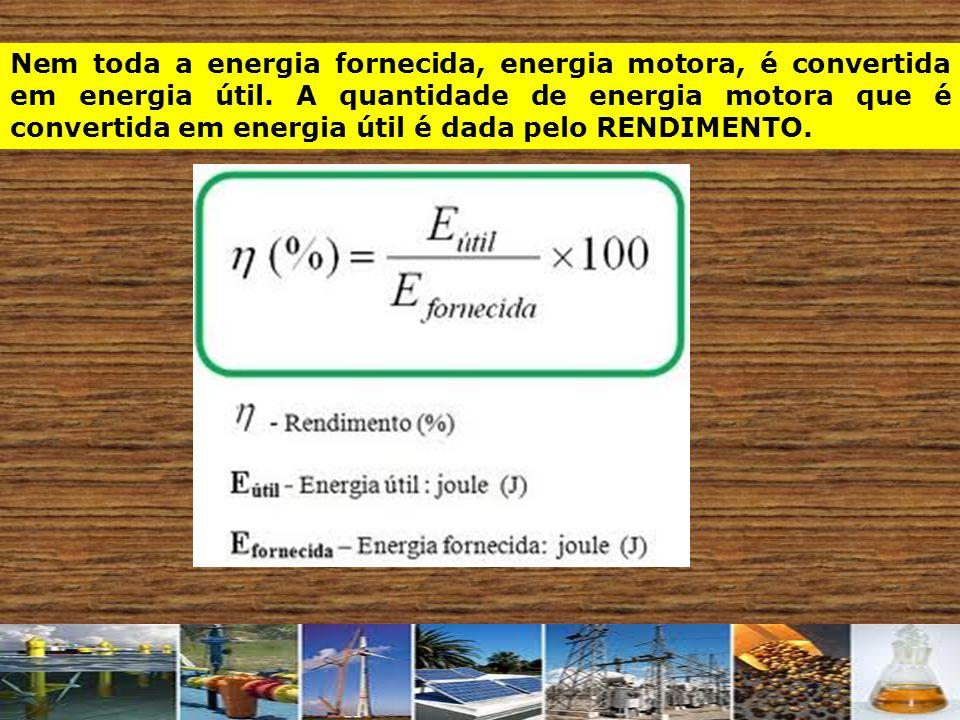 Nem toda a energia fornecida, energia motora, é convertida em energia útil.