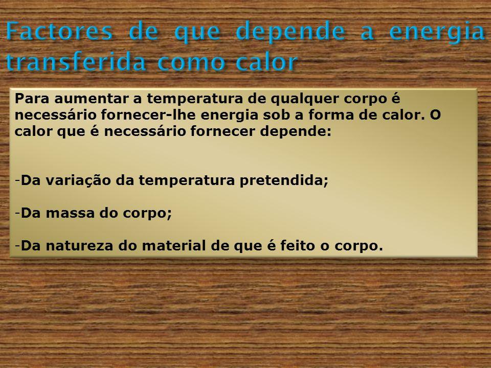 Factores de que depende a energia transferida como calor