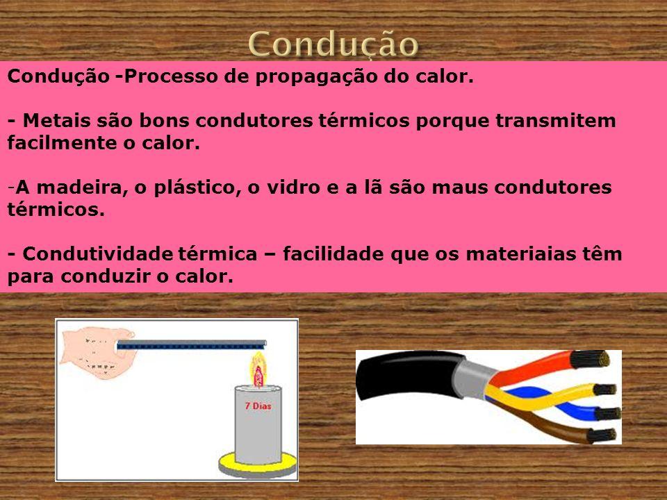 Condução Condução -Processo de propagação do calor.