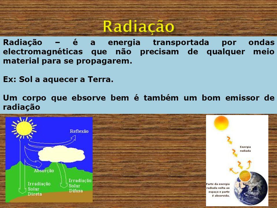 Radiação Radiação – é a energia transportada por ondas electromagnéticas que não precisam de qualquer meio material para se propagarem.