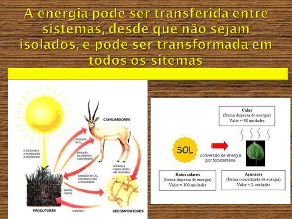 A energia pode ser transferida entre sistemas, desde que não sejam isolados, e pode ser transformada em todos os sitemas