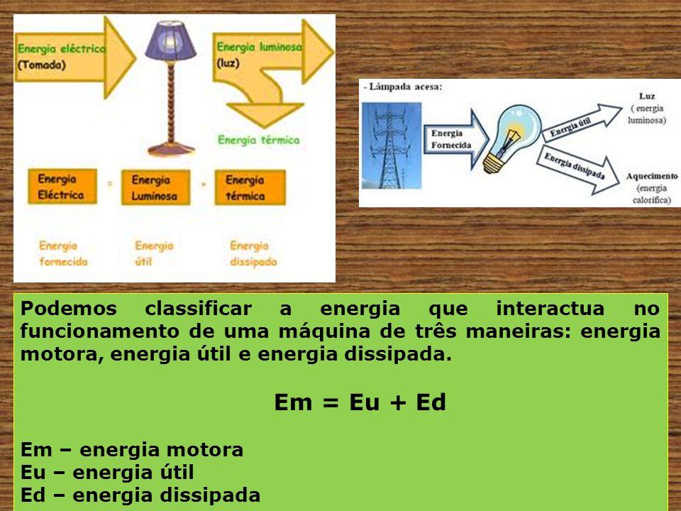 Podemos classificar a energia que interactua no funcionamento de uma máquina de três maneiras: energia motora, energia útil e energia dissipada.