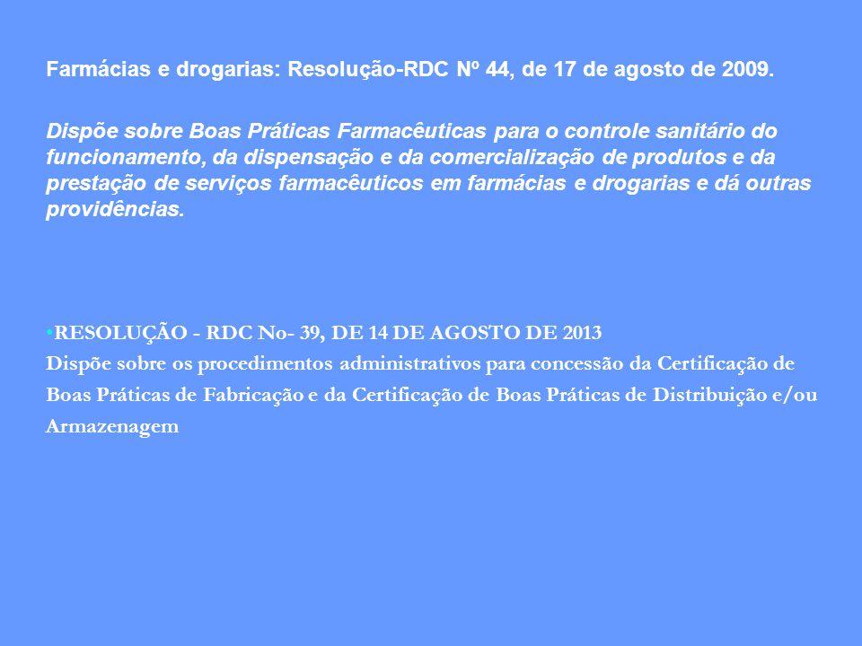 Farmácias e drogarias: Resolução-RDC Nº 44, de 17 de agosto de 2009.