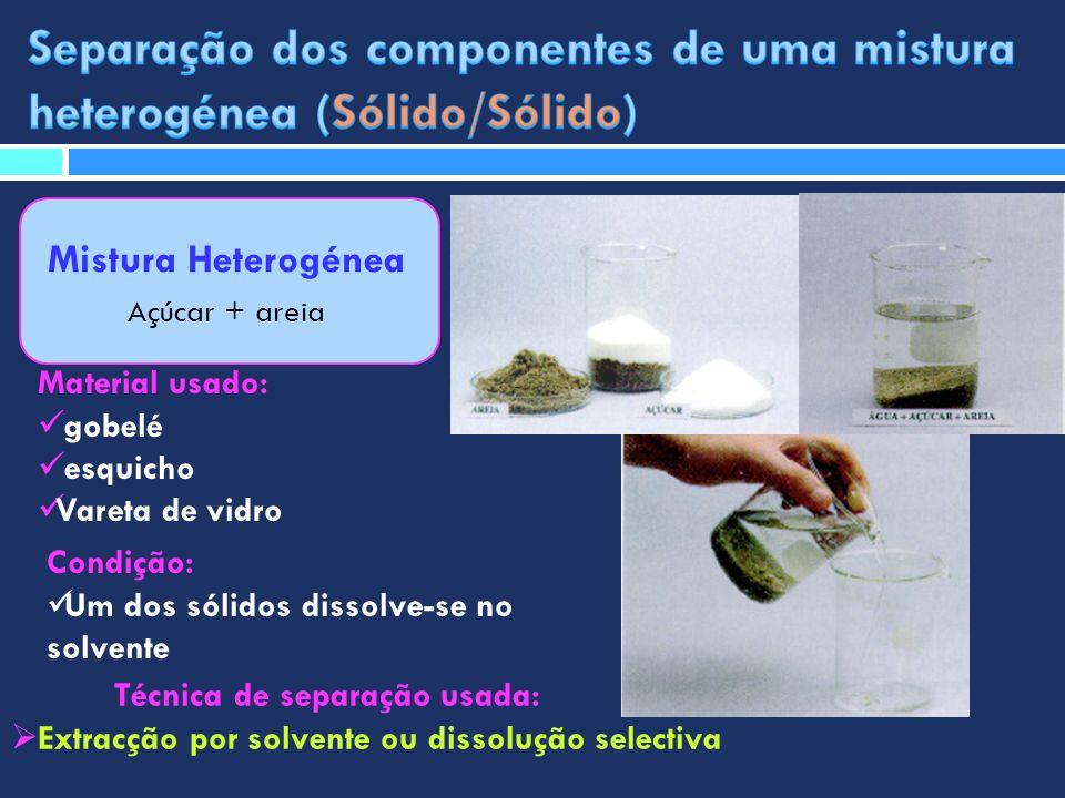 Separação dos componentes de uma mistura heterogénea (Sólido/Sólido)