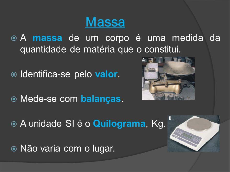 Massa A massa de um corpo é uma medida da quantidade de matéria que o constitui. Identifica-se pelo valor.