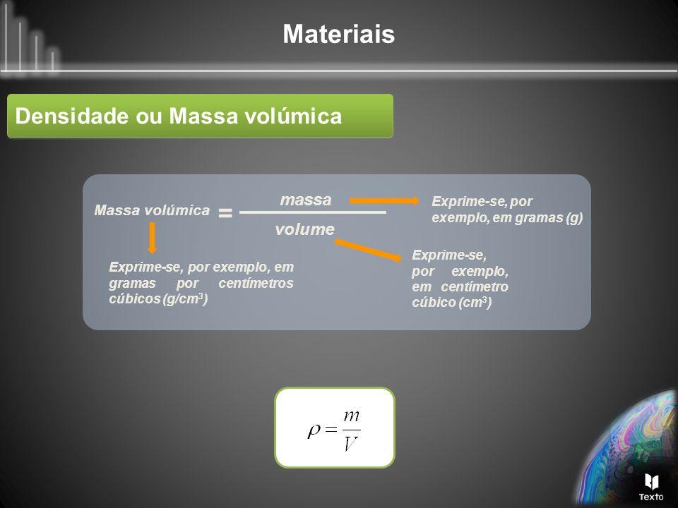= Densidade ou Massa volúmica massa volume Massa volúmica