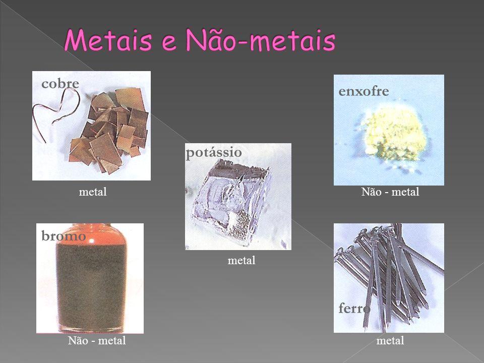 Metais e Não-metais cobre enxofre potássio bromo ferro metal