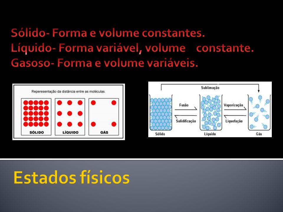 Estados físicos Sólido- Forma e volume constantes.