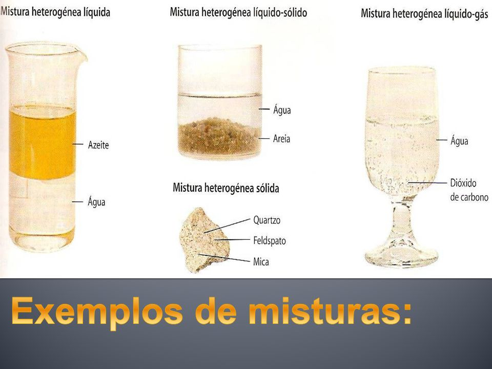 Exemplos de misturas: