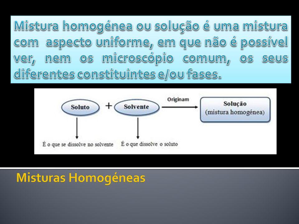 Mistura homogénea ou solução é uma mistura com aspecto uniforme, em que não é possível ver, nem os microscópio comum, os seus diferentes constituintes e/ou fases.