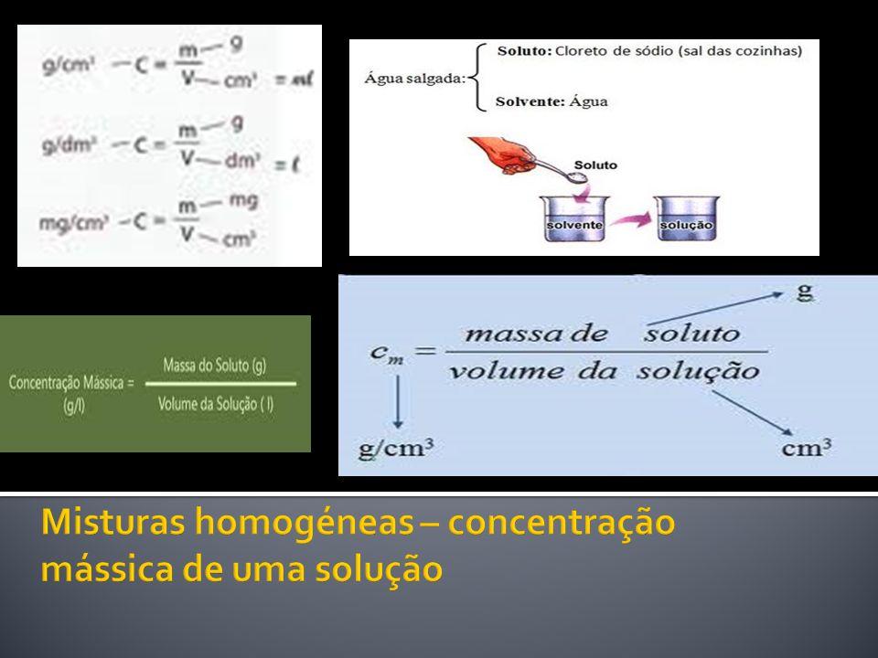 Misturas homogéneas – concentração mássica de uma solução