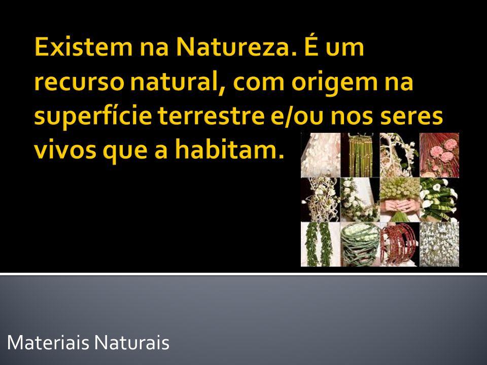 Existem na Natureza. É um recurso natural, com origem na superfície terrestre e/ou nos seres vivos que a habitam.