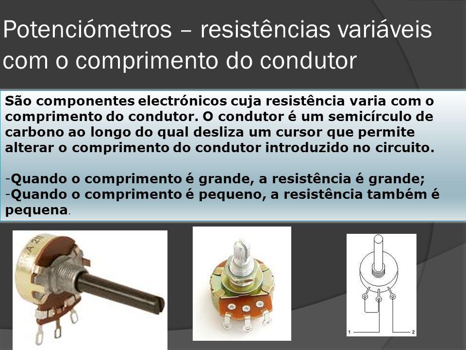 Potenciómetros – resistências variáveis com o comprimento do condutor
