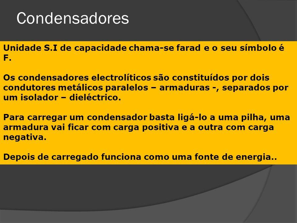 Condensadores Unidade S.I de capacidade chama-se farad e o seu símbolo é F.