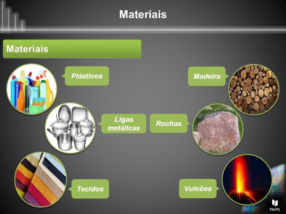 Materiais Plásticos Madeira Ligas metálicas Rochas Tecidos Vulcões