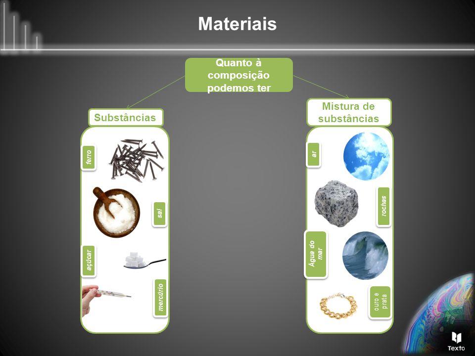 Quanto à composição podemos ter Mistura de substâncias