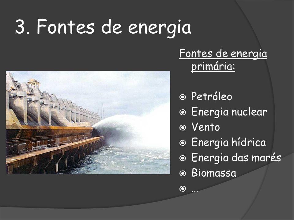 3. Fontes de energia Fontes de energia primária: Petróleo