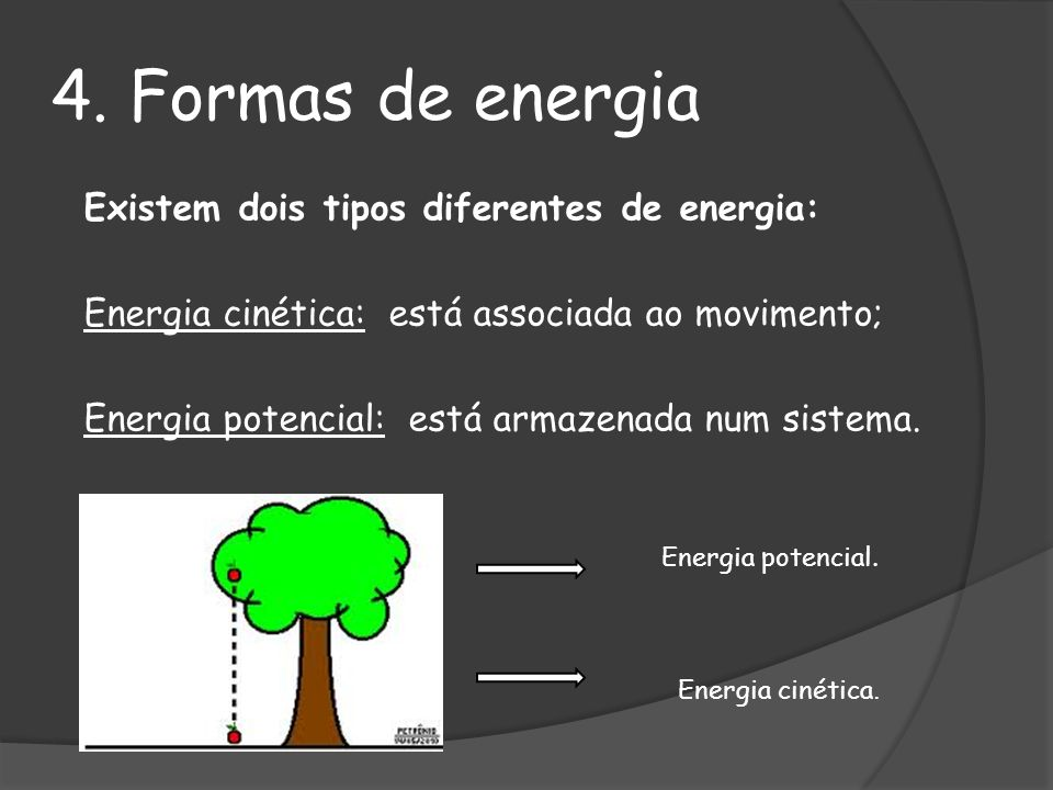4. Formas de energia Energia cinética: está associada ao movimento;