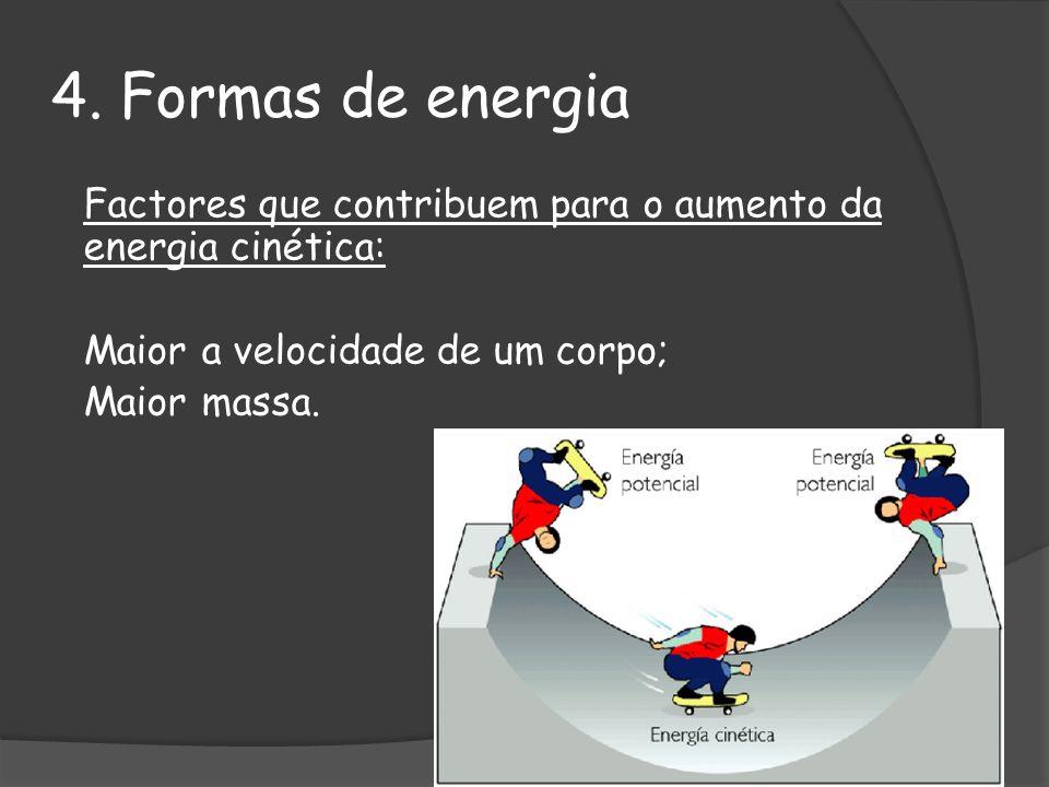 4. Formas de energia Maior a velocidade de um corpo; Maior massa.