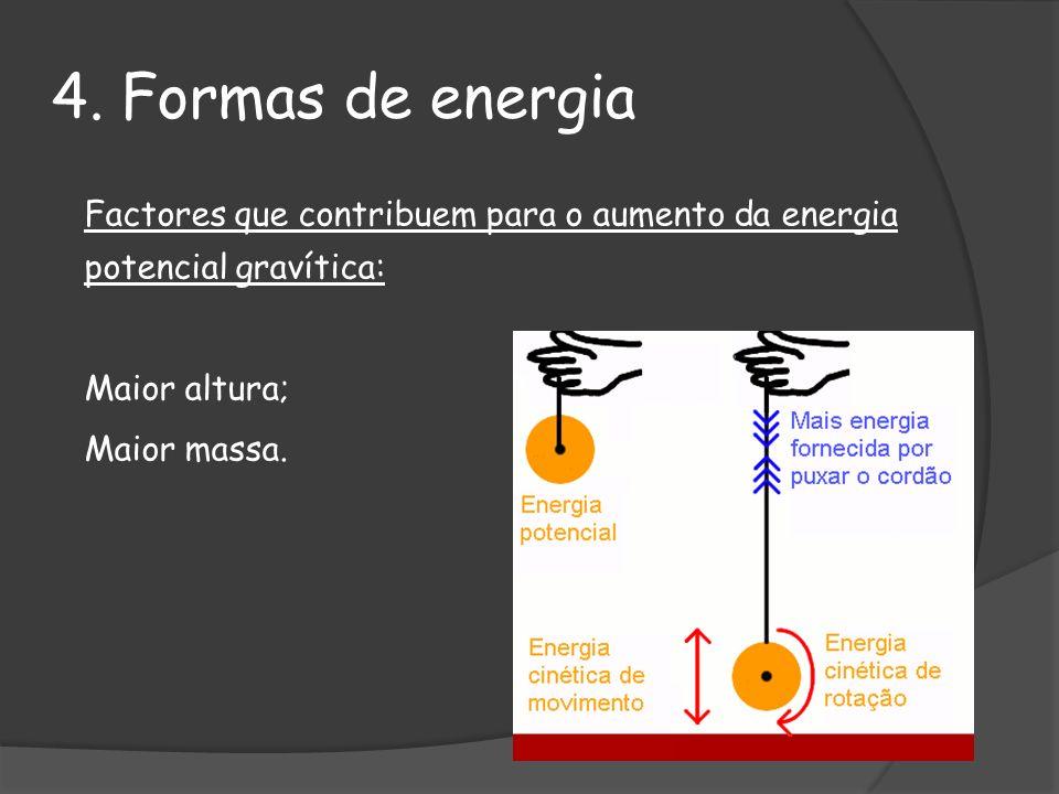4. Formas de energia Maior altura; Maior massa.