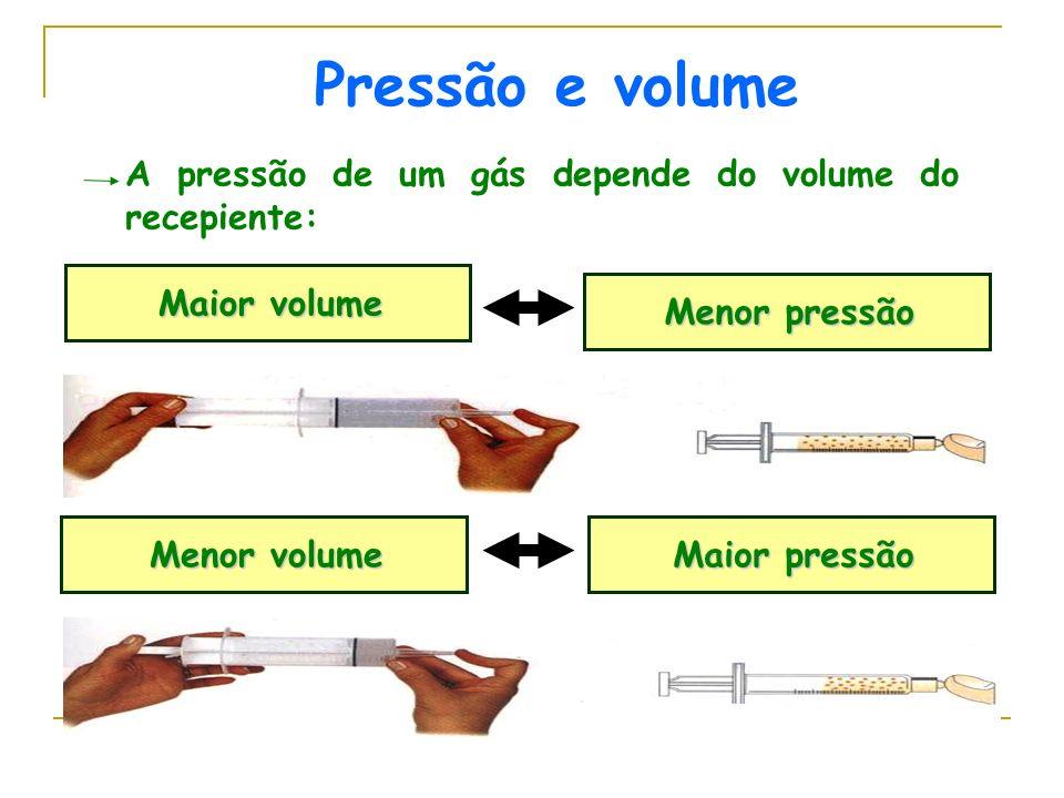Pressão e volume A pressão de um gás depende do volume do recepiente: