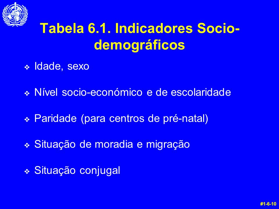 Tabela 6.1. Indicadores Socio-demográficos