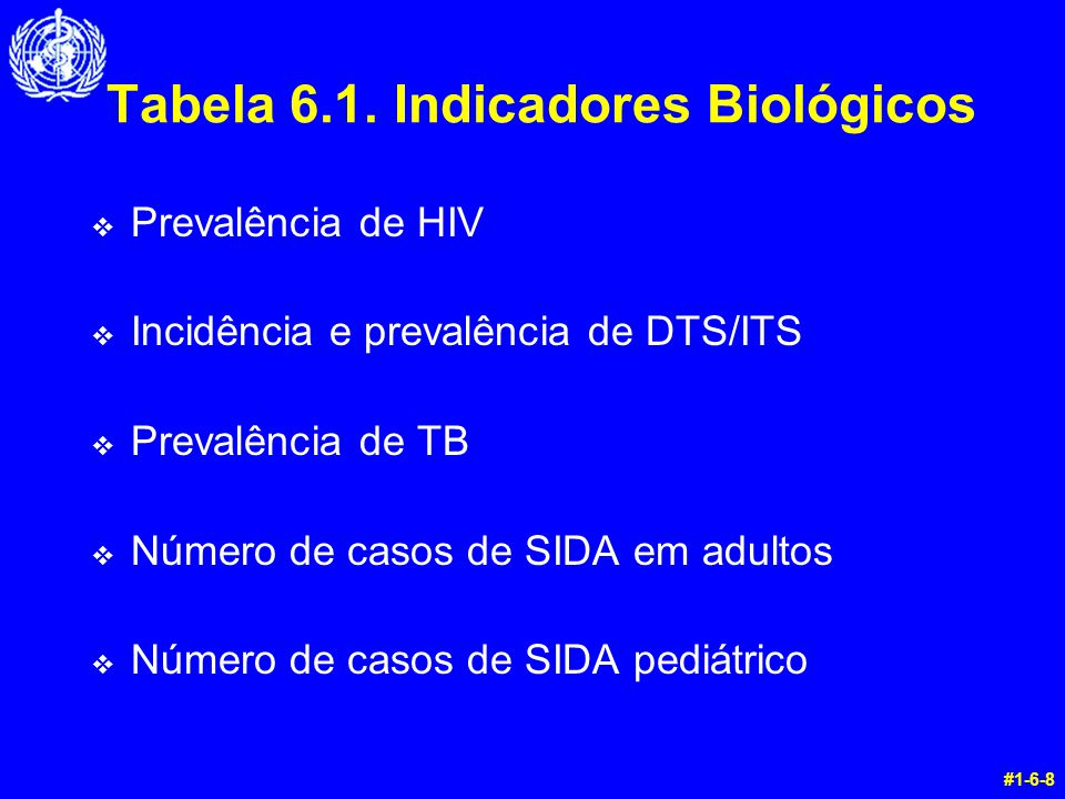 Tabela 6.1. Indicadores Biológicos