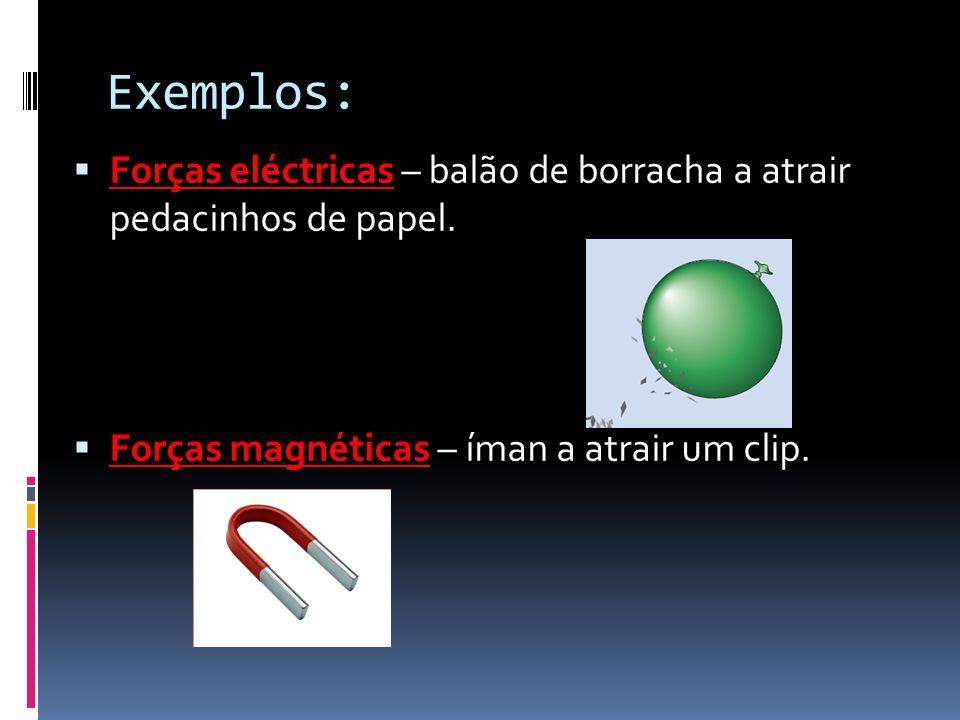 Exemplos: Forças eléctricas – balão de borracha a atrair pedacinhos de papel.