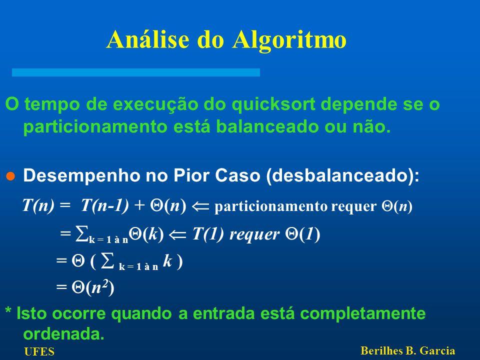 Análise do Algoritmo O tempo de execução do quicksort depende se o particionamento está balanceado ou não.