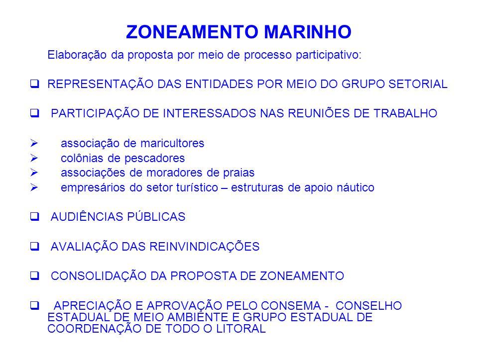 ZONEAMENTO MARINHO Elaboração da proposta por meio de processo participativo: REPRESENTAÇÃO DAS ENTIDADES POR MEIO DO GRUPO SETORIAL.