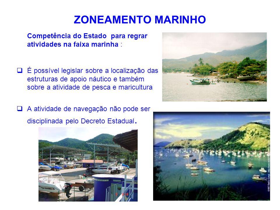 ZONEAMENTO MARINHO Competência do Estado para regrar atividades na faixa marinha :