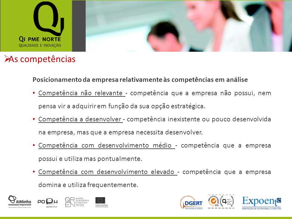 As competências Posicionamento da empresa relativamente às competências em análise.