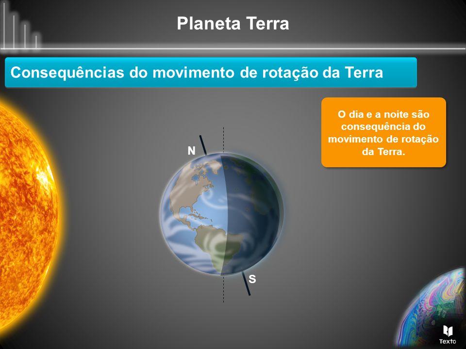 O dia e a noite são consequência do movimento de rotação da Terra.