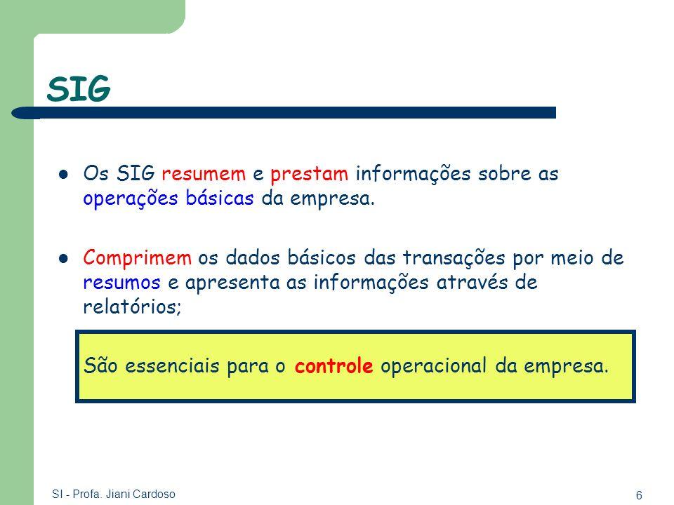 SIGOs SIG resumem e prestam informações sobre as operações básicas da empresa.
